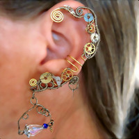 "Non Pierced ""Back in Time"" Steampunk Wire Wrap Ear Cuff OOAK"