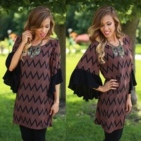 Say It Over & Over Chevron Dress