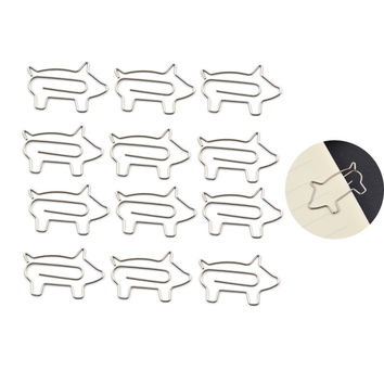 Lychee Craft Office & School Supplies 12Pcs Metal Cute Animal Bird Rabbit Shape Paperclips With Box Desk Accessories Organizer