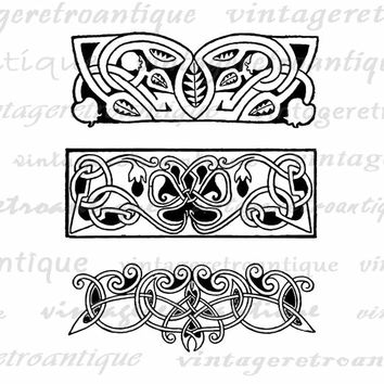 Printable Graphic Elegant Floral Banners Image Geometric Flower Header Digital Plant Leaves Vine Download Jpg Png  HQ 300dpi No.3839