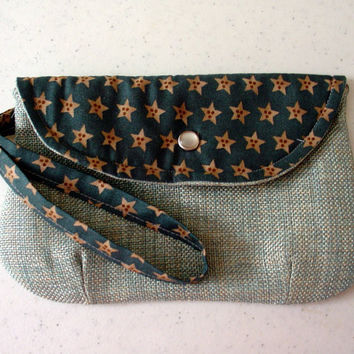 Teal Envelope Clutch Purse, Handmade with Wristlet, Fully Lined, Inside Pocket, Pearl Snap, for women, teens & girls