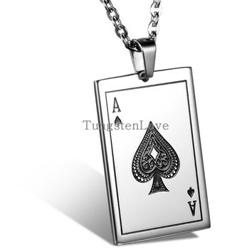 Mens Playing Cards Spades A J Q K Pendant 316L Stainless Steel Men's Necklace 55cm Chain engrave
