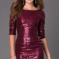 Short Sequin Three Quarter Length Sleeve Dress
