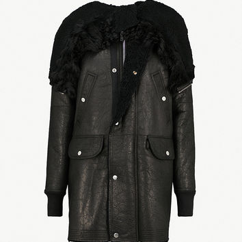 RICK OWENS Hooded leather and shearling jacket