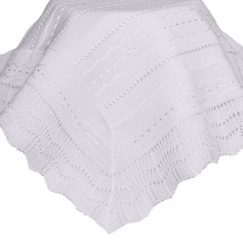Infants White Acrylic Knit Shawl Blanket w. Wave Pattern