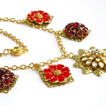 Red Recycled Vintage Jewelry Necklace Handcrafted Short Gold Chain Unique