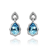 White Gold Plated Blue Crystal Earring