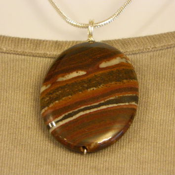 90ct. Mixed Brown Stone, Semi Precious, Agate, Pendant, Necklace, Oval, Natural Stone, 126-15