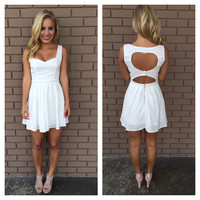 White Cut My Heart Out Dress