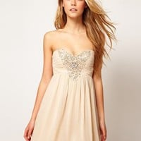 Little Mistress Embellished Bodice Prom Dress at asos.com