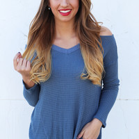Cold Shoulder Knit {Blue}