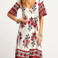 Summer V-neck Cross Flowers Printed Half Sleeve Bandage Midi Chiffon Dress