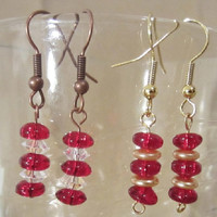 Red w/ Clear or Red w/Gold Glass Stacked Roundel Dangle Earrings, Handmade, Christmas, Holiday, Festive, Ladies Fashions, Original Design