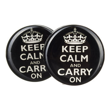 Keep Calm Carry On BMA Plugs (2.5mm-60mm)