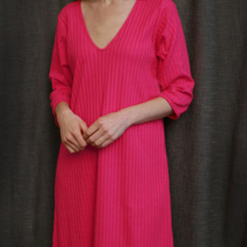 Hot Pink VNeck 3/4 NightGown Cotton Shadow Stripe, Made In The USA   Simple Pleasures, Inc.