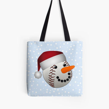 ' Christmas Baseball Snowman ' Tote Bag by Gravityx9