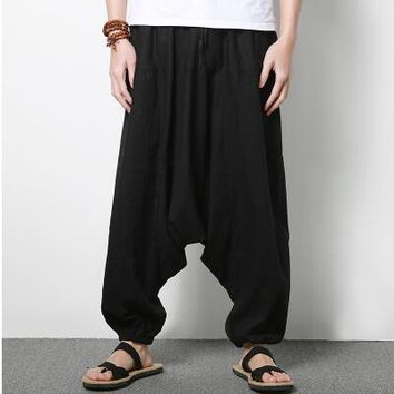 2017 autumn Bloomers Male Casual Travel Harem Pants Fluid Big Crotch Pants Indian Nepal Baggy Pants elastic waist oversize