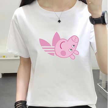 """""""Adidas"""" Popular Gucci Peppa Pig Unisex Casual Summer Spoof Print Short Sleeve Round Collar Couple Cotton T-Shirt Pullover Top I-JZP-36"""