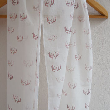 Hand Stamped Antler Scarf,Organic Cotton Scarf,Soft Thin scarves,Accessory