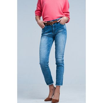 Fringed Medium Washed Skinny Jeans