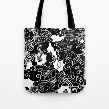 Black and White Graffiti pattern Tote Bag by PRODUCTPICS