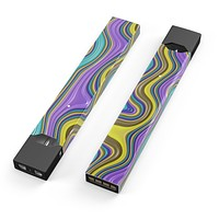 Skin Decal Kit for the Pax JUUL - Bright Purple Teal and Mustard Yellow Color Waves