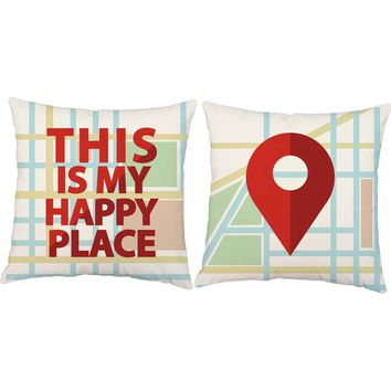 My Happy Place Map Throw Pillows