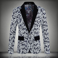 Brand Clothing Mens Blazer suits Woolen Fabric Floral Printed New 2016 Spring Fashion Slim Fit Men Suit Coat Blazers Male L