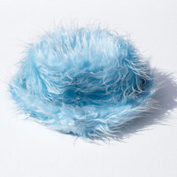 90s Fuzzy club kid rave baby light blue faux fur pastel bucket beanie hat
