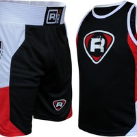 RDX Boxing Gym Vest & Shorts Set Suit Red Black