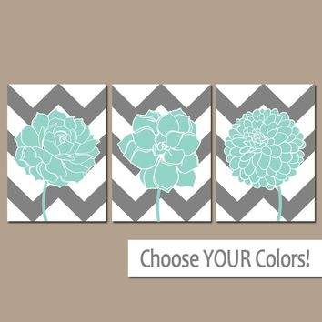 CHEVRON Flower Wall Art, Aqua Gray Bathroom Decor, Succulent CANVAS or Prints, Aqua Gray Bedroom Pictures, Flower Dahlias, Set of 3 Pictures