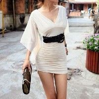 Alexia Long Open Sleeve Dress (Beige)