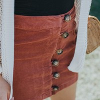 Corduroy Button Down Skirt, Brick