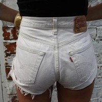Vintage LEVIS White/Cream Denim High Waisted Shorts from Boutique 73