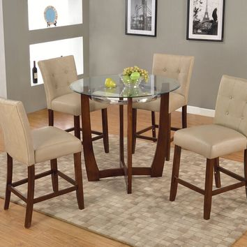 "Acme 77815-67055 5 pc Baldwin walnut finish wood 45"" round glass top counter height dining table set"
