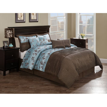 Chocolate Aqua Pleat Queen Comforter Set with 4 Bonus Pillows
