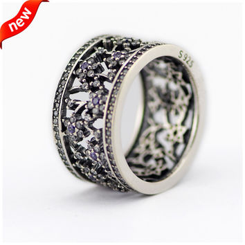 Silver 925 Jewelry Forget Me Not Silver Rings Bague 100% 925 Sterling Silver Jewelry DIY Men Women Ring Anillos 08R084