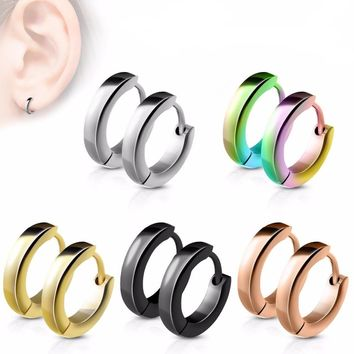 Fashion Earring Silver Color&Gold-Color Punk Rock Stainless Steel Small Hoop Earring for Women Men Ear Ring Clip Circle Earrings