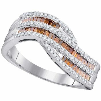 10k Rose Gold Women's Baguette Red Diamond Contour Ring - FREE Shipping (US/CA)