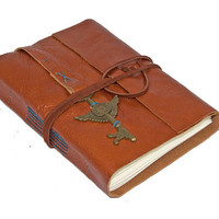 Light Brown Leather Journal with Winged Clock Key Bookmark
