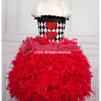 Queen of Hearts Tutu Dress - Feather Dress - Feather Tutu Dress - Queen of Hearts Dress