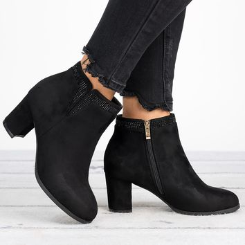 Jax Round Toe Booties - Black