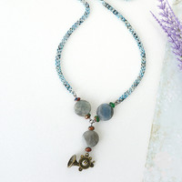French Horn Necklace with Gray Labradorite and Ruby Zoisite Golden Pressed Jade, Music Jewelry