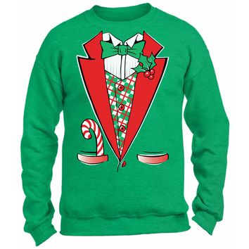 Christmas Tuxedo Sweatshirt. Holiday Outfit. Xmas Sweater Party. Christmas Costume Ugly Sweater.