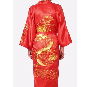 Brand New Red Traditional Chinese Men's Sleepwear Satin Silk Embroider Dragon Robe Kimono Bath Gown Plus Size S To XXXL 011020
