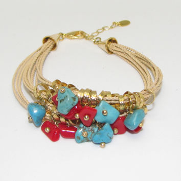 Red Coral Turquoise Stone Gold Plated Beads Rock Multi Strand Rope Bracelet