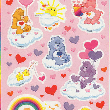 Care Bears Stickers TCFC Stickety-Doo-Da 2004 Pink Hearts Valentine's Clouds Rainbow