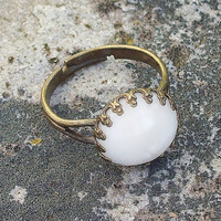White Bone Cabochon Set in Elegant Crown Top Antiqued Bronze Adjustable Ring