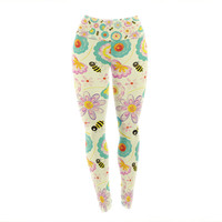 "Louise Machado ""Floral Bee"" Tan Teal Yoga Leggings"