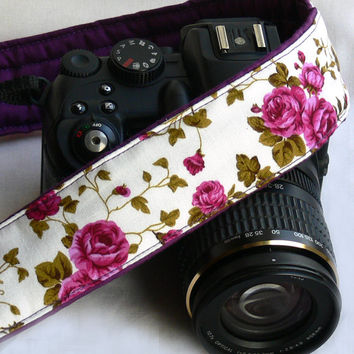 Flowers Camera Strap. dSLR Camera Strap with roses. Canon Camera Strap. Nikon Camera Strap. Women Accessories.